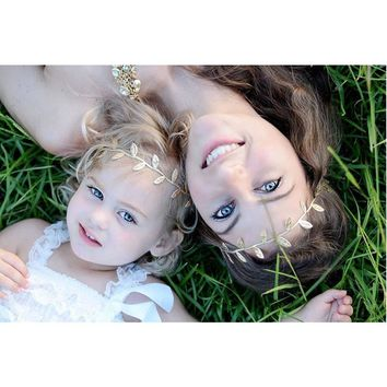 Mommy and Me Gold Silver Leaf Headband Olive Branch