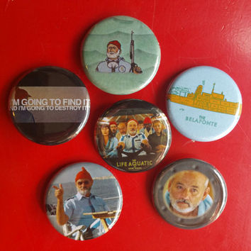 "Life Aquatic set of 6 pin back buttons 1.25"" Wes Anderson"