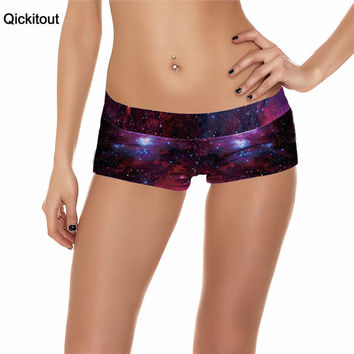 Qickitout Shorts 2016 Sexy Sport Running Fitness Shorts Women Sexy Galaxy Scales Cute Cat Leopard Digtal Print Elasticity Shorts
