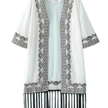 White Sequined Embroidery Tasseled Kimono