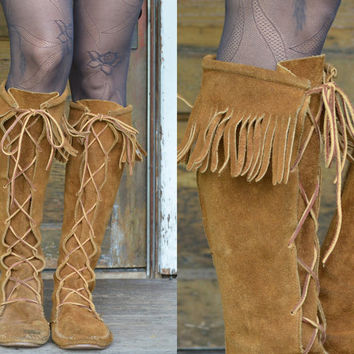 Vintage Tall Native Fringe Suede Taos Moccasin Boots, 8.5 womens