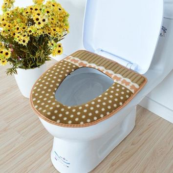 Fashion Winter Bathroom Products Toilet Seat Cover Warmer Fleece Thick Soft Comfortable Baby Potty Seats Case Bathroom Accessory