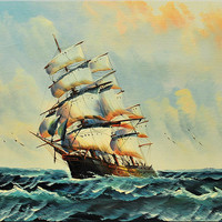 "Large oil painting 24"" original nautical art ship water blue sailing painting  stretched canvas art by EttisGallery"