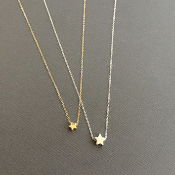 Tiny Gold Star Necklace, Floating star necklace, vermeil star, Delicate star necklace, Gold star necklace, silver star necklace