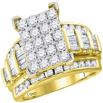 10kt Yellow Gold Women's Round Diamond Cindy's Dream Cluster Bridal Wedding Engagement Ring 2.00 Cttw - FREE Shipping (US/CAN) - Size 5