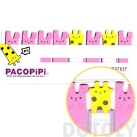 Giraffe and Bunnies Shaped Pacopipi Memo Pad Post-it Index Tabs | Animal Themed Stationery