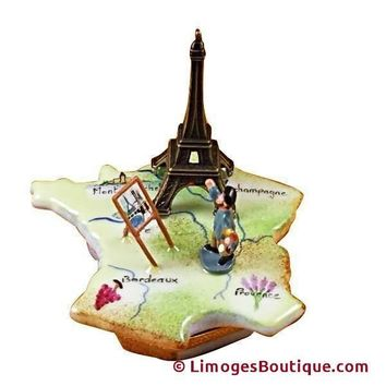 MAP OF FRANCE W/MONET & EIFFEL TOWER LIMOGES BOX