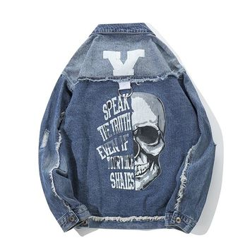 Mens Fashion Denim Jacket Skull Print