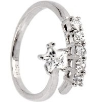 925 Sterling Silver Shining Cubic Zirconia Halo Toe Ring