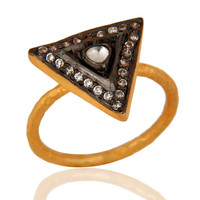 18K Yellow Gold Plated Sterling Silver Crystal Polki & Cubic Zirconia Ring