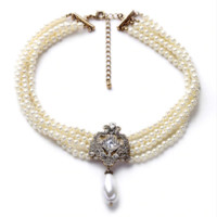 "16"" cream faux pearl crystal choker necklace 1.50"" drop white faux pearl"