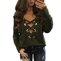 Hollow out Strappy Front Women Spring Plus Size Lace Up Causal Long Sleeve Shirt Women Blouses Ladies Tops Black Blouse Tie up