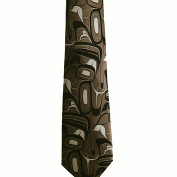 Eagle Silk Tie in Taupe designed by First Nations Artist Kelly Robinson