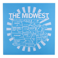 Midwest Map Poster (Blue)