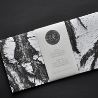6 eco-friendly BIRCH BARK envelopes (incl. address labels, classy DL format)