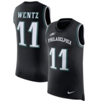 KUYOU Philadelphia Eagles Jersey - Carson Wentz Black Color Rush Player Tank Top