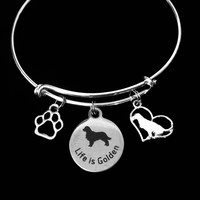 Golden Retriever Jewelry Dog Expandable Charm Bracelet Silver Adjustable Wire Bangle Labrador Retriever Paw Print Pet Animal Lover