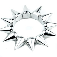 1-row Silver Cone Spike Bracelet Stretch Wristband Metal