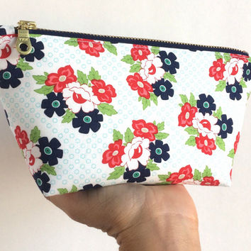 Small Makeup Bag, Floral Cosmetic Bag, Floral Makeup Bag, Small Zipper Pouch