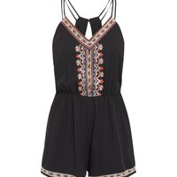Black Embroidered Playsuit