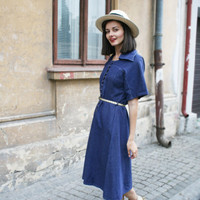Vintage blue denim dress, button up, jeans dress,Casual style dress. Country chic dress, farm ,indie,trendy, M