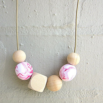NL-095 Red and Pink Swirl Pattern Polymer Clay and Wooden Bead Necklace in Adjustable Leather Cord