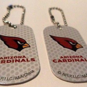 Lot of 2 Arizona Cardinals  Logo Dog Tags Key chains backpacks party Gift