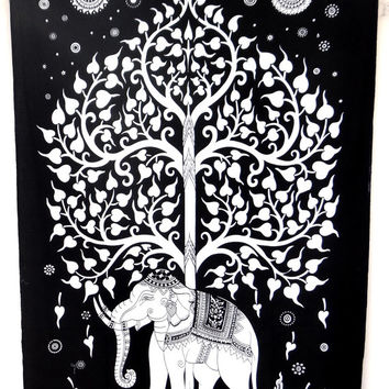 White tree of life goodluck tapestry ,bohemian tapestry,elephant tapestry,dorm decor,table throw,beach throw,room divider
