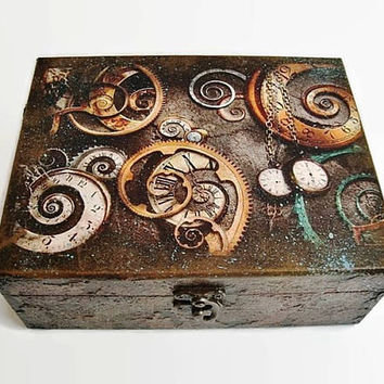 Steampunk Box Steampunk jewellery Storage Box Accessories Gift for men Boxes for men Jewelry box Steampunk gears Steampunk Art Wooden box