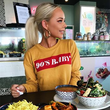 Jo Kalin Autumn Cropped Hoodie 2018 Fashion Streetwear Harajuku Women Letter Printed Yellow Sweatshirt Casual Pullover Moletom