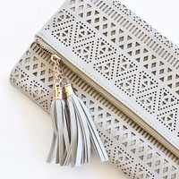 Kendall Perforated Clutch - Grey
