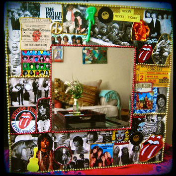 Rolling Stones Wall Mirror,rock and roll decoupage,CUSTOM MADE