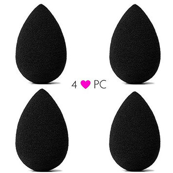 Beauty Junkees pro Blending Sponge: Black Makeup Blender 4pc Set - Latex Free Makeup Sponges for Stippling Foundation, Highlighting, Contouring with Liquid, Creams, Powder Cosmetics