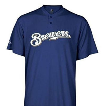 Milwaukee Brewers Majestic 50/50 2 BUTTON Officially Licensed MLB Baseball SHIRT SIZE-YOUTH MEDIUM