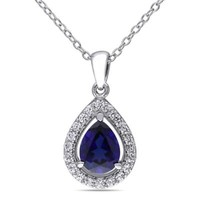 Sterling Silver Lab-Created Blue and White Sapphire Teardrop Pendant Necklace