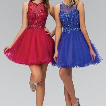 Sheer Illusion Neckline, Jewel Embellished Cocktail Dress Prom dress