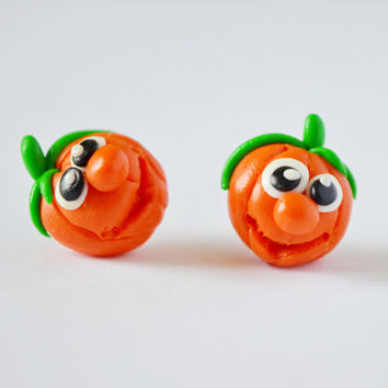 Pumpkin Earrings,Halloween stud,Holiday Character post earrings,Orange Autumn earstud,funny Fall front earrings,funny ear pins,Thanksgiving