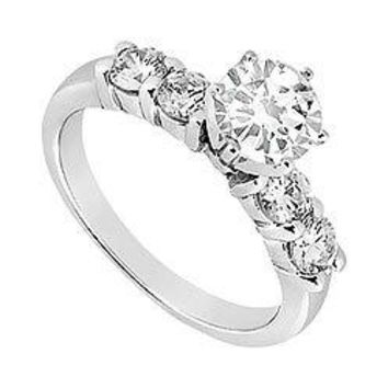 Semi Mount Engagement Ring in 14K White Gold with 0.20 CT Diamonds Center Diamond Not Included
