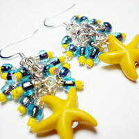 Yellow starfish earrings with blue bead clusters - beaded earrings - starfish jewelry - yellow and blue dangle earrings - beachy earrings