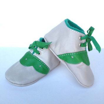 0-3 Months Slippers / Baby Shoes Lamb Leather Green White