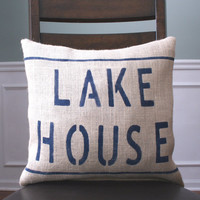 Lake House Pillow Cover Burlap Beach Blue Cottage Cabin