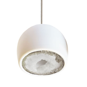 Geode Silver Leafed Raw Gem & Porcelain Mini Matte White Clay Pendant Light