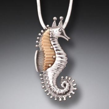"""""""Seahorse"""" Ancient Mammoth Ivory Tusk Sterling Silver Pendant"""