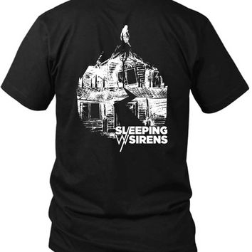 Sleeping With Sirens Logo Grayscale Black And White 2 Sided Black Mens T Shirt