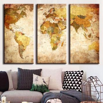 Vintage World Map 3 Panel Canvas Painting Oil Painting Print On Canvas Home Decor Art Wall Print Picture Living Room Unframed