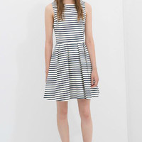Striped Crew Sleeveless Mini Skater Dress