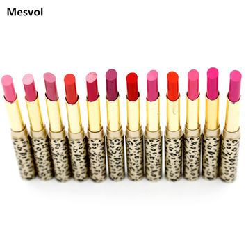 Lipsticks Makeup Lot Hot Fashion Leopard 12 Pcs 12 colors Red Lip Stick Set P8505