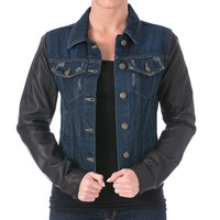 Laundry by Shelli Segal Womens Faux Leather Sleeves Denim Jacket