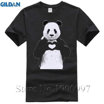 All You Need IS Love Cool Panda heart Print Mens T-Shirt Funny Animal Design Tops Hipster Men Cartoon Tee Shirts Plus Size
