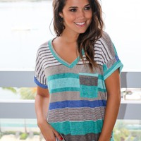 Jade V-Neck Top With Pocket